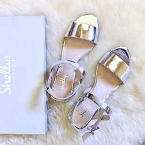 Shellys London Silver Mirrored Sandals